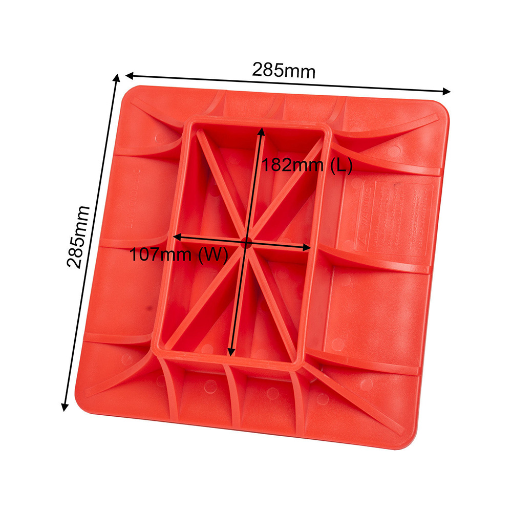 Red PP Hi-Lift Jack Offroading Gear Base Surface Pad To Alleviate Jack Hoisting Sinkage Offroad Base 285x285mm On Soft Ground