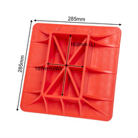 Red PP Hi Lift Jack Offroading Gear Base Surface Pad to Alleviate Jack Hoisting Sinkage Offroad Base 285x285mm on soft ground