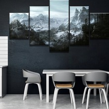 Framed 5 Piece HD Print Large Elder Scrolls V Skyrim Game Poster Paintings on Canvas Wall Art for Home Decorations Decor