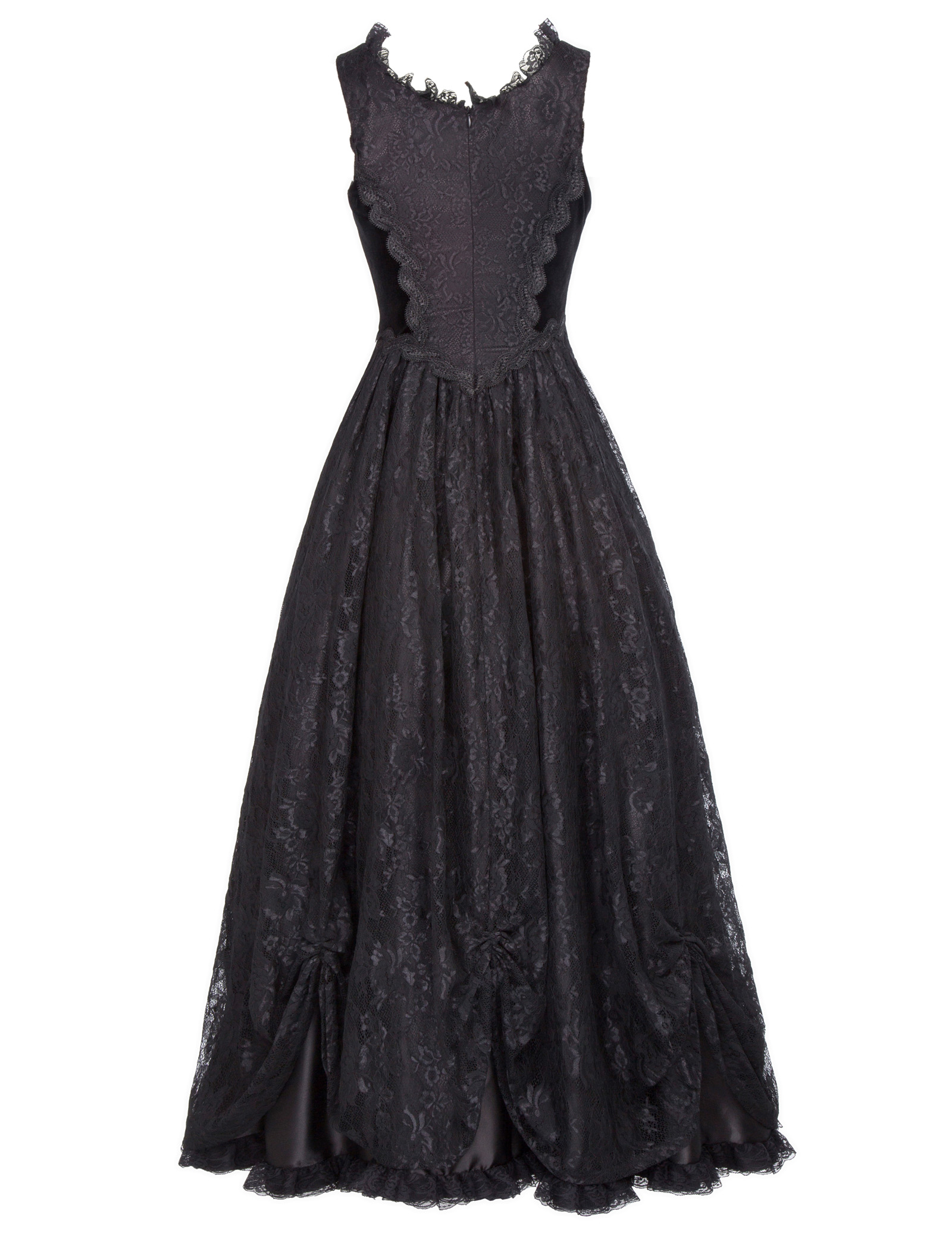 Retro Victorian Long Dress Gown Gothic Theater Steampunk Lace&Satin Bustle Dress