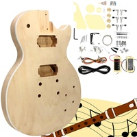 DIY Solid Wood Electric Guitar Kit Handmade Assemble Guitar Crafts Mahogany Body And Neck Parts String Instrument For Beginners