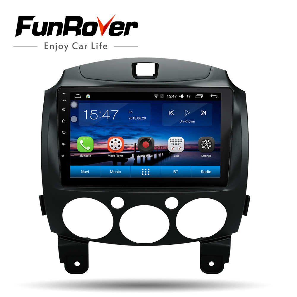 Funrover 9''android 8.0 2 din dvd car multimedia player navi For Mazda 2 2007 14 gps navigation stereo radio wifi video player