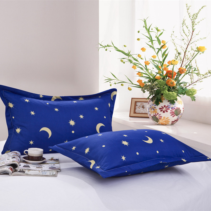 1 Piece Moon Stars Pillow Case Cover Blue Color Pillowcase Bedroom Use 100% Polyester Pillowcases For Children Adults XF340-7 50