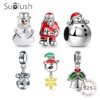 Suplush Authentic 925 Sterling Silver Christmas Charms Beads Fit Original Pandora Bracelet Necklaces Christmas Jewelry Gift Beads