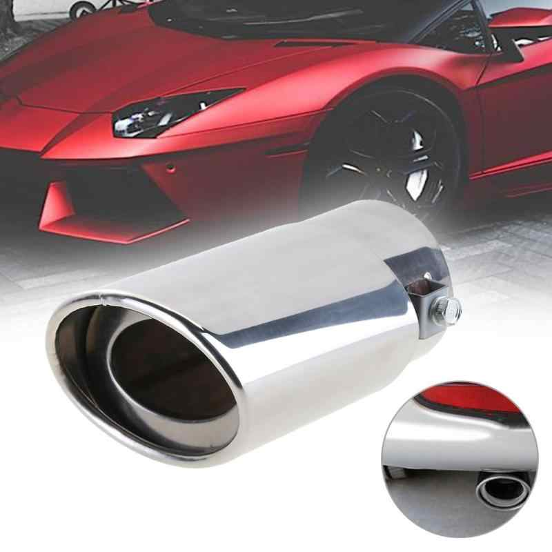Car Tail Rear Chrome Round Exhaust Pipe Tail Muffler Stainless Steel Tip Car Rear Tail Throat Liner Accessories Car Styling