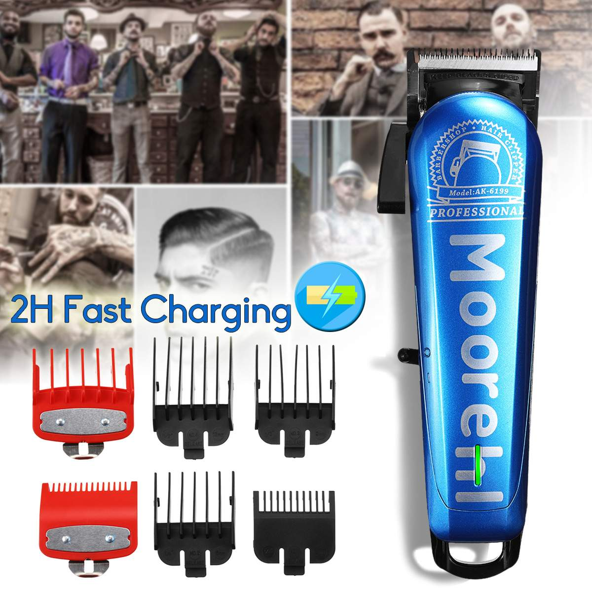 Baorun Professional Hair Trimmer Electric Precisions 0mm Hair Clipper Cutting 2H Fast Charging Shaving Machine Home Barber Tool