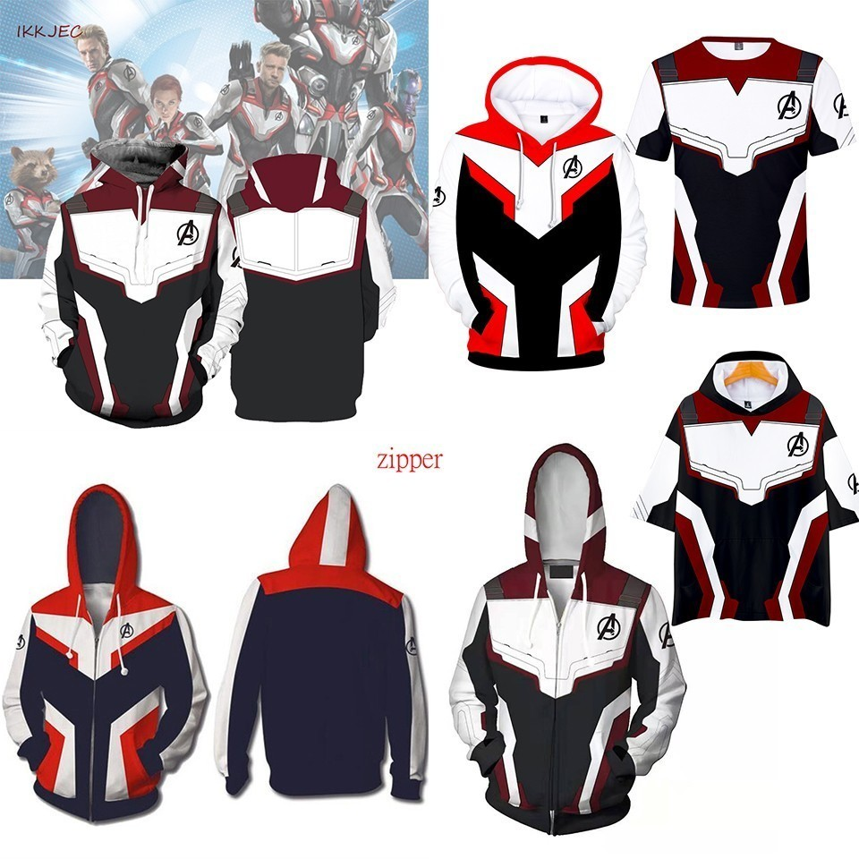 Sweatshirt Jacket Costume Hooded End-Game Marvel Avengers Quantum Zipper Realm The Cosplay