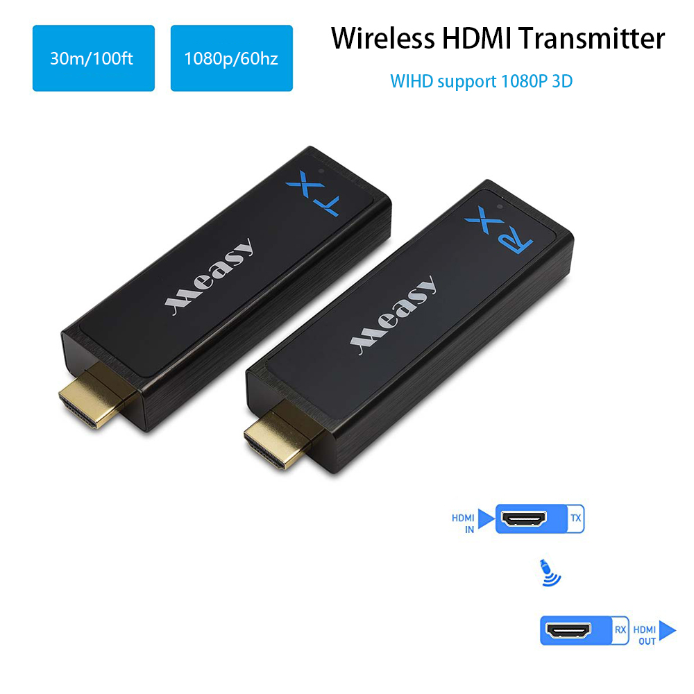 measy Wireless HDMI Transmitter and Receiver HDMI Extender up to 30M/100Feet support 1080P 3D Video to Projector HDTV Monitor-in HDMI Cables from Consumer Electronics