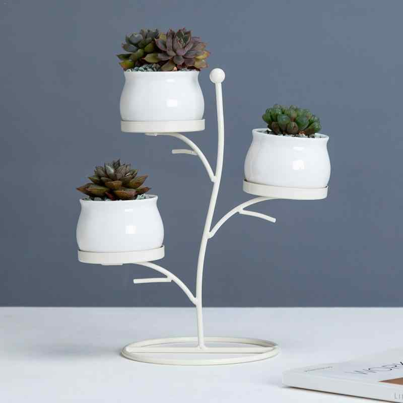 Succulent Plants 3-Tiered Metal Plant Stand Flower Pot Innovative Geometric Branches Small Round Ceramic Flower Pot