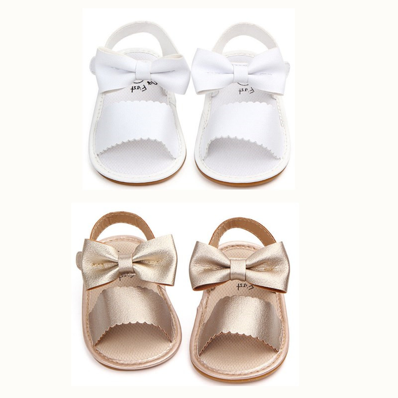 Summer Baby Girl Bowknot Sandals Anti-Slip Crib Shoes Soft Sole Prewalkers Infant Baby Girls PU Leather Party Gold/White Sandals