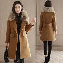 Office Lady Slim Womens Long Coats 2019 Winter Single Button Wool Blend Coat and Jacket Turn-down Collar Ladies Coats недорого