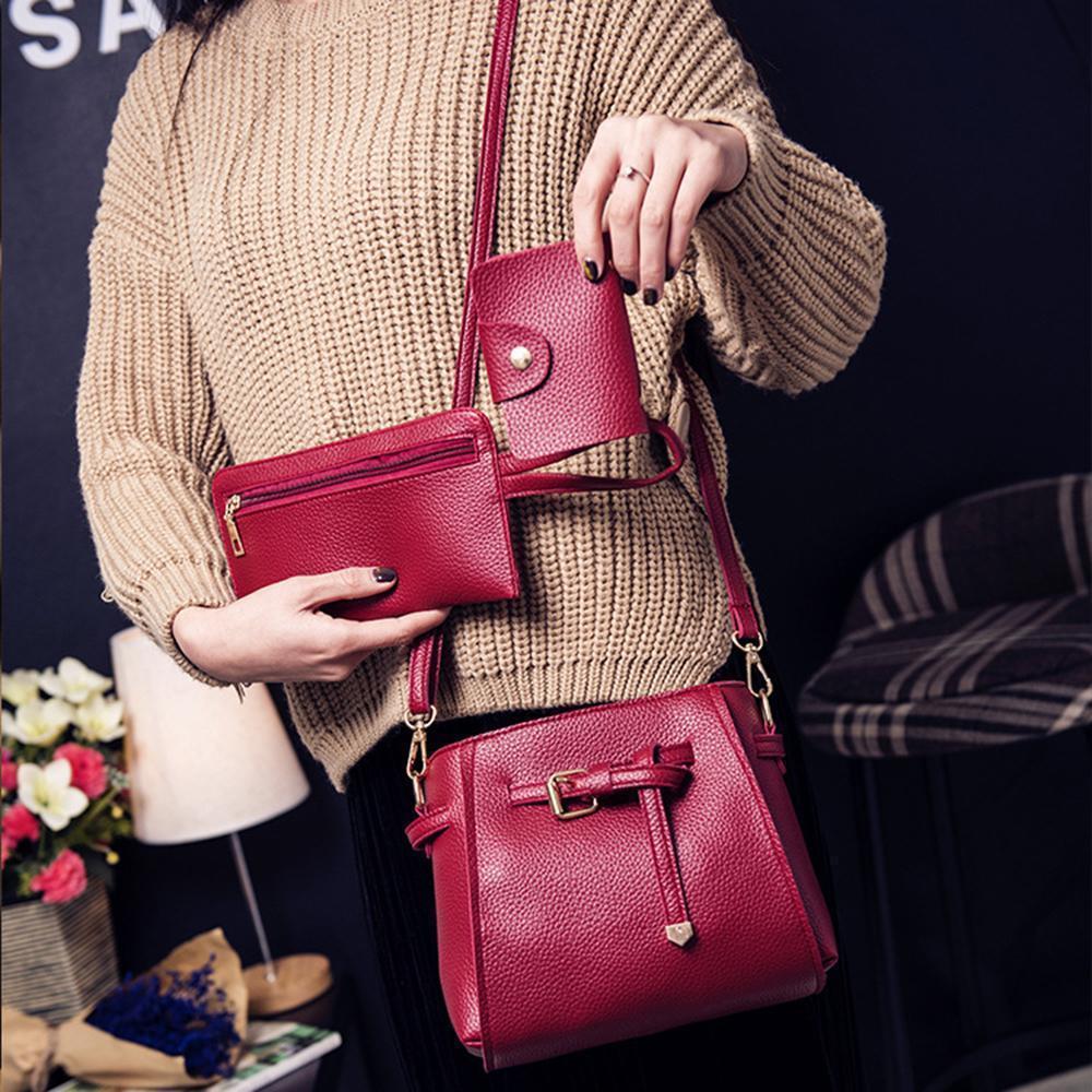 4Pcs Set Women Travel Bags Women Handbag Lady PU Leather Shoulder Bag Tote Purse Messenger Satche New