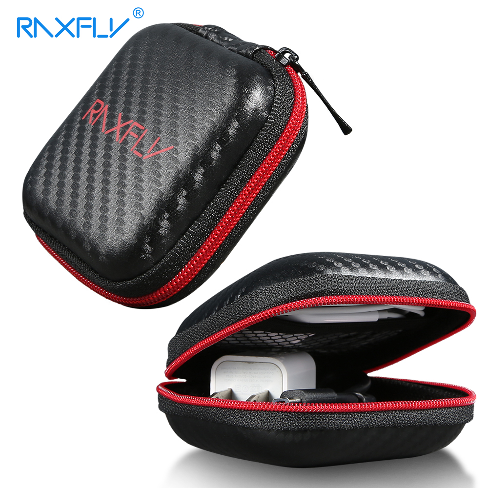 RAXFLY Fashion Storage Bags For Earphone USB Cable Case Headphone Wire Winder Hard Headset Bag Cases Earphoen Cords