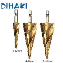 3 Pcs/Set 4-12/20/32mm HSS Spiral Grooved Drill Bits Titanium Step Cone Bit Accessories Metal Woodworking Tool
