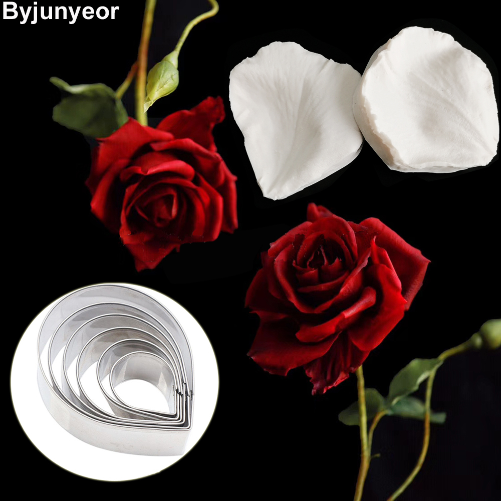 New Rose Flower Veiners Silicone Molds Fondant Gumpaste Clay Water Paper Cake Decorating Tools ,Sugarcraft  Cutters CS235