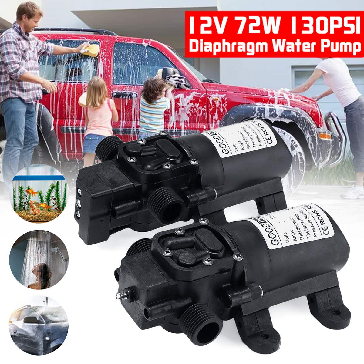 DC 12V 130PSI 6L/min Electric Water Pump Black Micro High Pressure Diaphragm Water Pump Sprayer Car Wash 12 V image