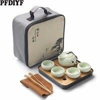 Portátil caliente Kung Fu té cerámica tetera china de Teaset tazas de té gaiwan de la ceremonia del té con bolsa de viaje|Sets de juegos de té| |  -