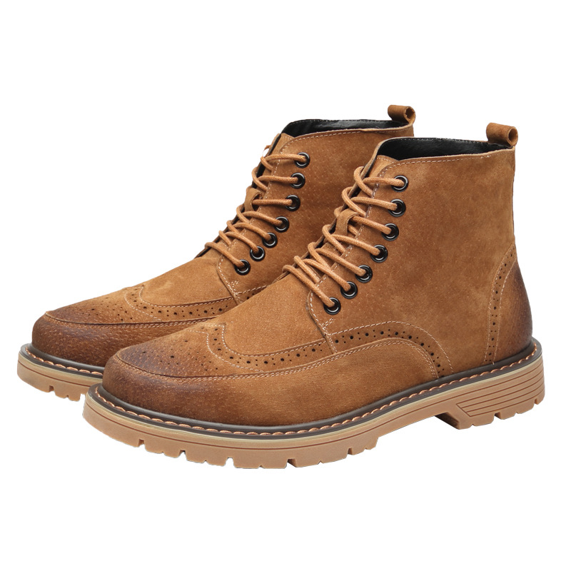 Men's Shoes Leisure Knee-high Round Toemen Chelsea Boots Solid Lace-up Vintage Motorcycle Boots Sewing Low Classics British Style Shoes Strong Packing Basic Boots