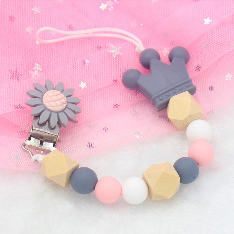 1pc Baby Pacifier Clips Flower DIY Pacifier Chain With Silicone Beads Metal Holder Infant Feeding Teething Chew Toys Dummy Clips
