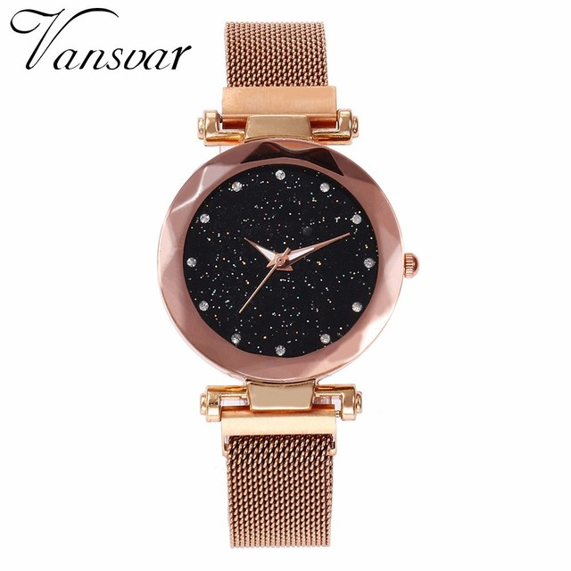 Best Selling Women Mesh Magnet Buckle Starry Sky Watch Casual Luxury Women Geometric Surface Quartz Watches Relogio Feminino 1