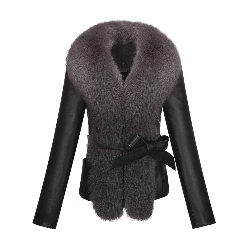 Winter Jacket Women Clothing Imitation Fox Fur Collar Fur Coat 2019 Newest Imitation Sheep Leather Clothing Women Coats
