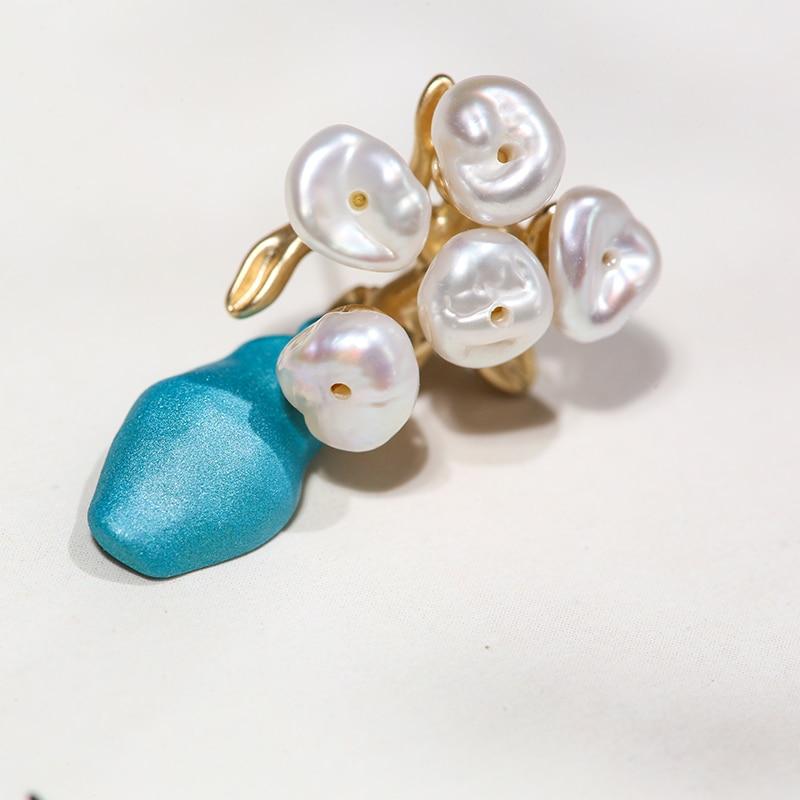 Image 5 - Vanssey Fashion Vintage Jewelry Flower Flowerpot Van Gogh Natural Irregular Pearl Stud Earrings Accessories for Women 2019 New-in Stud Earrings from Jewelry & Accessories