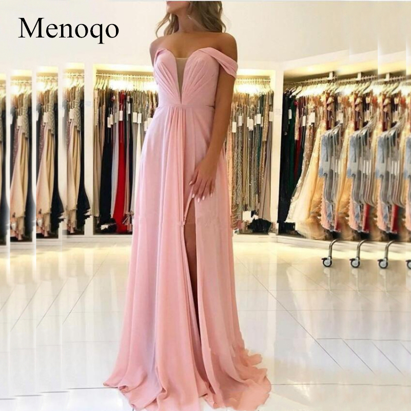 Menoqo Sexy Lace Up Back A Line Chiffon Evening Dresses Cheap Side Split Long Evening Gowns Off The Shoulder