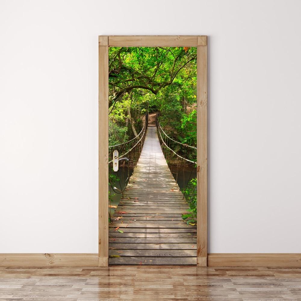 3D Door Sticker Forest Wall Mural Art Green Tree Drawbridge Wallpaper Poster Stickers Self Adhesive Removable Home Door Decals