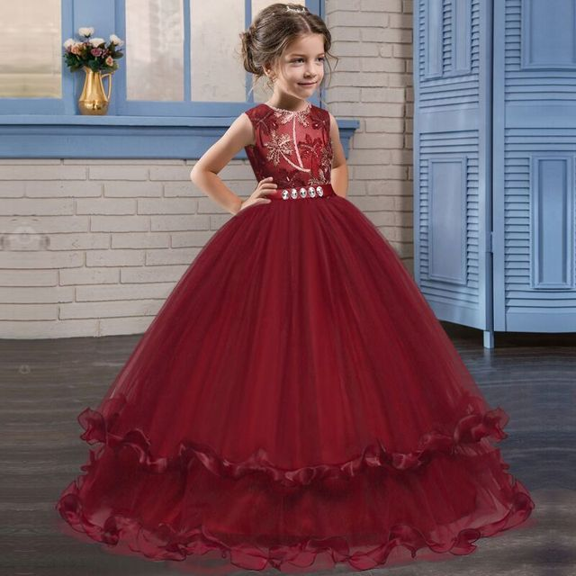 Children Dresses Petals Applique Gown Girl Dress Kids Clothes Infant  Birthday Outfits Girls Long Party Frock Teen Evening Wear d5230a7476dc