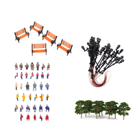 MagiDeal Painted Bench Passenger Tree Lamppost Models Toy HO for lway Scenery Train RaiDiorama Landscaping