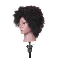 Afro Mannequin Head Hairdressing Training Head for Practice Styling Braiding African Dummy Head with 100% Human Hair Black