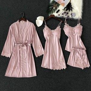 Image 2 - Lisacmvpnel 4 sztuk lodowy jedwab zestaw piżamy z Pad koszula nocna + sweter + krótki zestaw koronki Sexy piżama dla kobiet