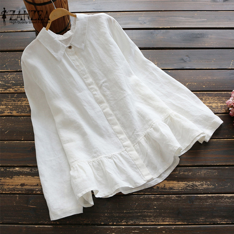 2019 Spring ZANZEA Women Blouse Ruffled Long Sleeve Shirt Cotton Linen Blusas Femininas Solid Casual Work OL Shirts Plus Size