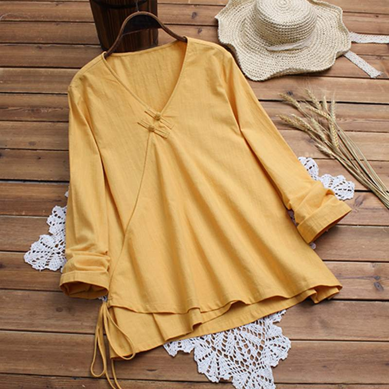 7bd05477b05 2019 Chinese Style Plate Button Shirts Women Long Sleeve V Neck Cotton Linen  Blouse Female Vintage
