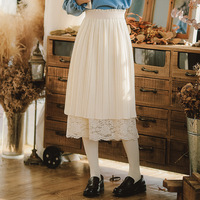 Korean Sweet Style A line Pleated Double Layer Lace Long Skirt OFF WHITE/BLACK/GREY BLUE