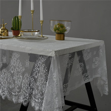 70x145cm High-grade European Style White Black Lace Tablecloth Coffee Table Cover Cloth Mantel Toalha De Mesa Tapete Christmas