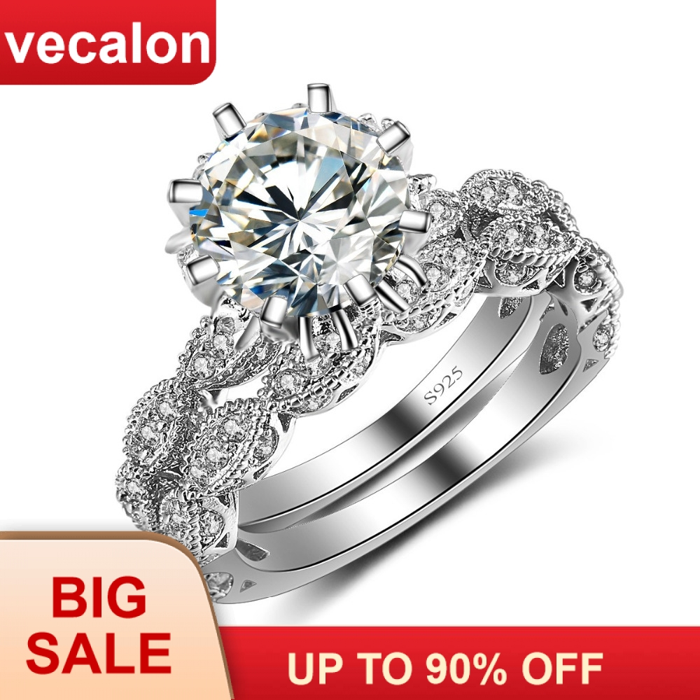 Vecalon 2016 Vintage Engagement wedding Band ring Set for women 3ct AAAAA Zircon cz 925 Sterling Silver Female Party ringVecalon 2016 Vintage Engagement wedding Band ring Set for women 3ct AAAAA Zircon cz 925 Sterling Silver Female Party ring