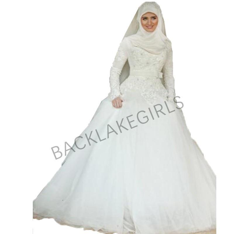 e943f9bf4994 Vestidos de noiva Modest Manga Comprida Gola Alta Do Vestido de Casamento  Botão Voltar Dubai Árabe