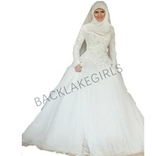vestidos de noiva Modest Long Sleeve Wedding Dress Gown