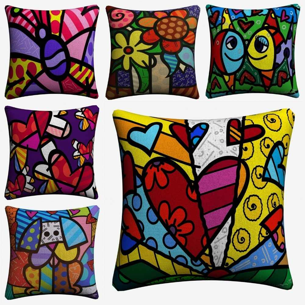 Romero Cartoon Dog Flower Linen Cushion Cover 45x45cm Decorative Pillow Case For Sofa Home Decor Throw Pillow Covers Almofada