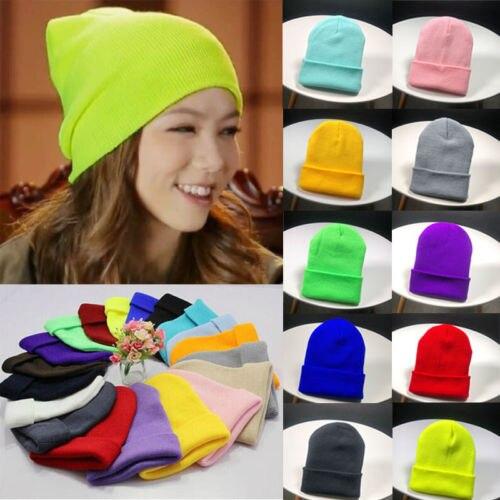 UK Men Women Wind Knitted Woolly Winter Slouch Beanie Skateboard Hat ... d3e65482cd