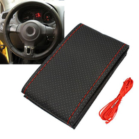 New Truck PU Car Steering Wheel Cover with Needle and Thread (Black+Red)