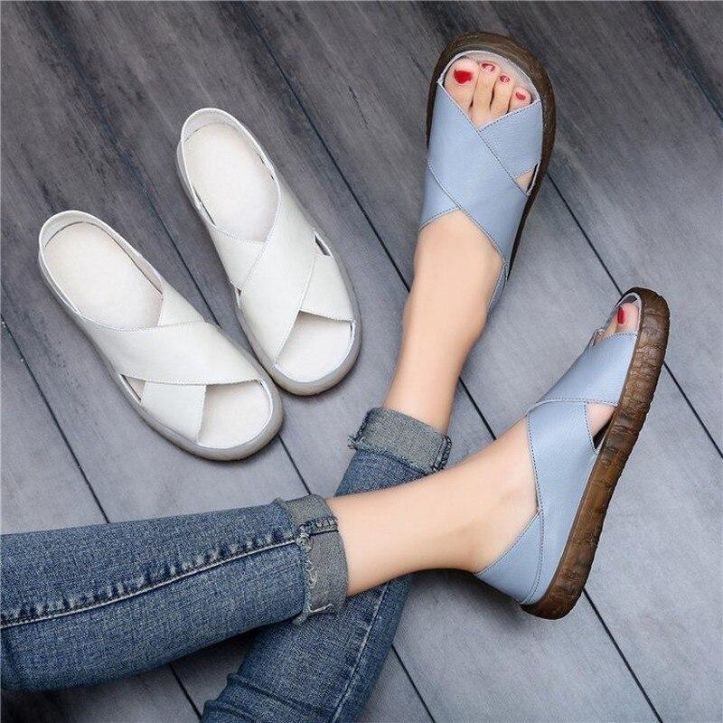 Women Sandals 2019 Summer Casual Women Shoes Leather Ladies Flat Sandal Soft Bottom Slip On Sandals Handmade Woman Sandals