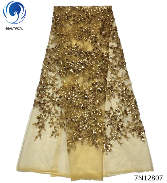 Beautifical glitter lace fabric gold african sequin lace fabric 2018 african latest lace fabric wedding material 5yards 7N128