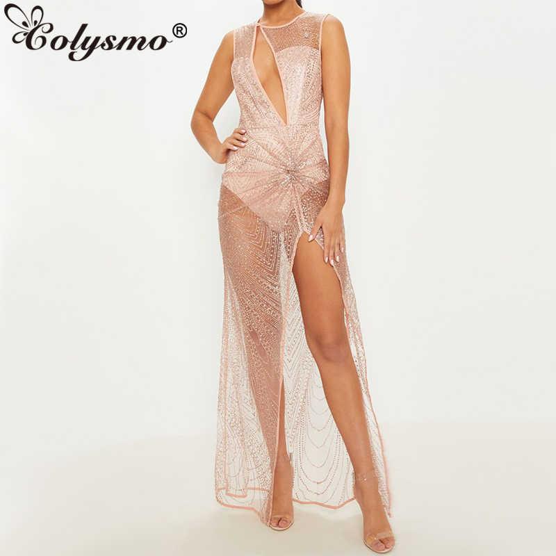14a810fa69 Colysmo Winter Sequin Dress Women Sxey Party Dresses Elegant High Split  Maxi Dress Hollow Out Design
