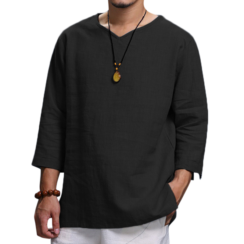 Mens Vintage T-Shirts Solid Color V-neck Folded Sleeve Loose Casual Shirts Male Tee Autumn Spring Mens Clothes
