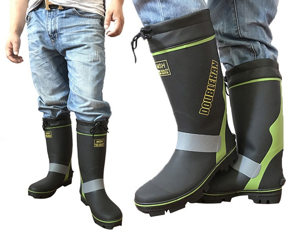 Fishing Waterproof Boots Outdoor Men's Non-slip Reflective Strips Equipment Supplies Garden Farms Mine Work Men Water Aqua Shoes