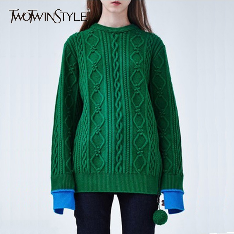 TWOTWINSTYLE Knitting Sweater For Women Long Sleeve Patchwork Hit Colors Side Split Pullover Tops Female 2019