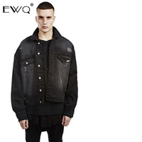 EWQ 2019 High Quality Men Oversize Bat Long Sleeve Loose Denim Jacket Fashion Turn down Collar Single Breasted Jean Coat HD570