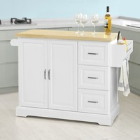 SoBuy FKW41 WN Extendable Kitchen Cabinet Cupboard Sideboard Kitchen Island Storage Trolley Cart